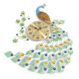 Strona główna Duży metalowy paw Luksusowy diamentowy zegar ścienny do salonu Art Decor