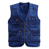 Mens Denim Multi Pockets Metal Zippers Breathable Hiking Outdoor Vest