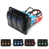 3 Gang 12V / 24V Przełącz LED Rocker Switch Panel On-Off Marine Boat Marine Wodoodporna