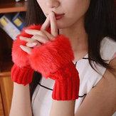 Wanita Winter Warm Rajutan Kentalkan Fingerless Gloves Buatan Rabbit Hair Half Finger Sleeve