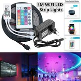 5M SMD2835 Alexa Smart Home WIFI Controller APP Control Non-waterproof RGB LED Strip Light with EU Power Adapter DC12V  Christmas Decorations Clearance Christmas Lights