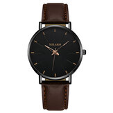 YOLAKO A0552 Fashion Leather Strap Men Simple Dial Quartz Watch