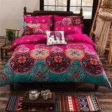 4 Adet Oriental Mandala Polyester Tekli Çift Kişilik Kraliçe Yatak Örtüsü Yastık Kılıfı Nevresim Örtüsü Seti