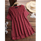 Plus Size Plaid Button Short Sleeve Irregular Hem Blouse