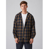 Mens Plaid Button Up Hooded Long Sleeve Vintage Shirts