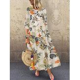 Vestidos maxi pregueados femininos com estampa floral retrô em volta do pescoço, manga três quartos
