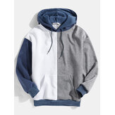 Herren Patchwork Kangaroo Pocket Drop Shoulder Design Hoodies
