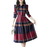 Women's Causal Aline Dress Turn Down Collar High Waist Plaid Dress
