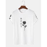 T-shirts met korte mouwen en Japanse karakters voor heren