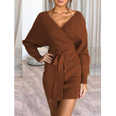Women Solid Color V-neck Long Sleeves Backless Mini Dress