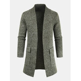 Mens Knitted Plain Long Sleeve Mid-Length Casual Sweater Cardigan With Pocket