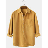 Corduroy Solid Henley Collar Chest Pocket Long Sleeve Shirts