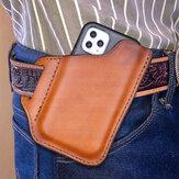 Echt leer voor heren Handige effen kleur 6,3 inch telefoonhoes Portemonnee heuptas Heuptas