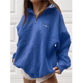 Women Letter Half Zipper Front Drop Shoulder Pullover Casual Sweatshirts