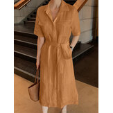 100% Cotton Side Pockets Lace-up Summer Holiday Dress For Women