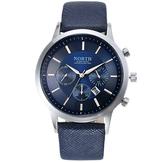 NORTH 6009 Модные мужские кварцевые часы Случайные декоративные маленькие детали Кожаный ремешок Наручные часы