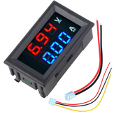 10 adet nMini Dijital Voltmetre Ampermetre DC 100 V 10A Voltmetre Akım Ölçer Cihazı Mavi + Kırmızı Çift LED Ekran