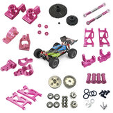 Wltoys 144001 1/14 Upgrade Metal RC Car Parts Swing Arm C Seat Connector Steering Cup Rear Wheel Seat Rod Gear Pink