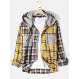 Heren patchwork geruite katoenen dubbele zak casual lange mouwen trekkoord capuchon shirts