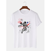 100% Cotton Designer Astronaut Print Loose Short Sleeve T-Shirts