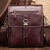 Men Genuine Leather Cowhide Retro Multi-pockets Multi-Layers Crossbody Bag