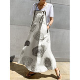 Tree Stump Circle Print Adjustable Strap Cotton Casual A-line Maxi Dress with Pockets