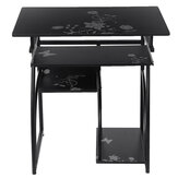 Computer Desk Table Workstation Table Flower Pattern Table Study Writing Desk with Host Keyboard Shelf for Office Home