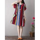 Kadın Renkli Şerit Yan Cepli Kısa Kollu Elbise