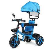 Triciclo infantil quatro em um Uma almofada acolchoada removível de instalação chave com abrigo à prova de sol Pés antiderrapantes Segurança para crianças