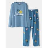 Női rajzfilm gyümölcs nyomtatású nyakú laza nadrág pamut kényelmes Plus méretű otthoni pizsama szettek