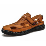 Mens Leather Comfy Non Slip Hand Stricing Soft Sole Casual Sandals