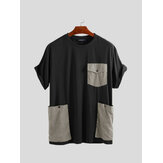 Big Pockets Stitching Short Sleeve Relaxed T-Shirts