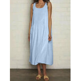 Casual Cotton Solid Color Sleeveless Breathable Loose Dress