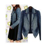 Women New Trendy Denim Jackets Turn Down Short Coats