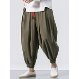 Men Cotton Loose Comfy Baggy Vintage Drawstring Jogger Casual Harem Pants