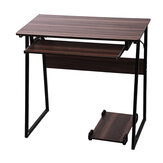 Trapezoidal Computer Desk Table Bedroom Writing Study Desk Family Workstation with Keyboard and Mainframe Stand for Office Home