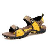 Men Leather Hook&Loop Opened Toe Slip Resistant Hiking Sandals