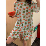 Women Funny Cartoon Animal Print Short Sleeve Two Piece Home Casual Pajama Set