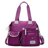 女性ナイロン軽量バッグ マルチポケット大容量ハンドバッグ クロスボディバッグ