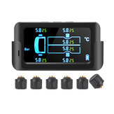 Wireless Car Tire Pressure Monitoring System External Solar Tyre TPMS with 6 Sensor for 6 Wheel Truck Car Van