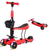Skládací dětský skútr 2 v 1 se sedlem Batole pro batolata Walker Dětské kolo s blikajícími koly na 3 až 6 let