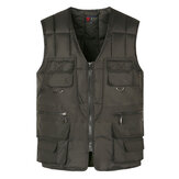 Mens Casual Loose Fit V Neck Multi Pockets Vest