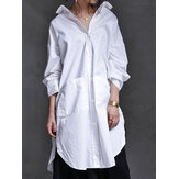 Women Button Up Side Fork Long Sleeve Solid Mid-Length Shirts With Pocket