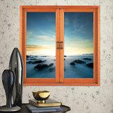 Feenland 3D Artificial Fenster Ansicht 3D Wandaufkleber Raum Aufkleber Ausgangswand Dekor Geschenk Aurora