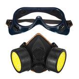 Gasmasker met actieve kool, dubbele tank, gasmasker Pesticide Formaldehyde gasmasker Verfspray Verfbeschermingsset