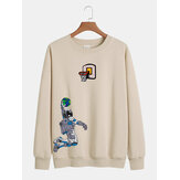 Cotton Mens Deisgn Cartoon Astronaut Print Pullover Long Sleeve Casual Sweatshirts
