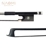 NAOMI 4/4 Size Violin/ Fiddle Bow Carbon Fiber Bow Round Stick AAA Grade Black Horsehair Ebony Frog Paris Eye Inlay Beginner Use
