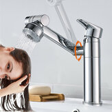 Bathroom Wash Basin Faucet Rotate Spout Hot Cold Mixer Tap Multidirectional Rotation Two Water Mode