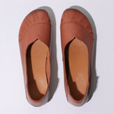 Women Solid Color V Shape Casual Comfy Soft Sole Slip On Loafers