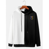 Mens Contrast Patchwork Smile Face Letter Printed Cotton Drawstring Hoodies